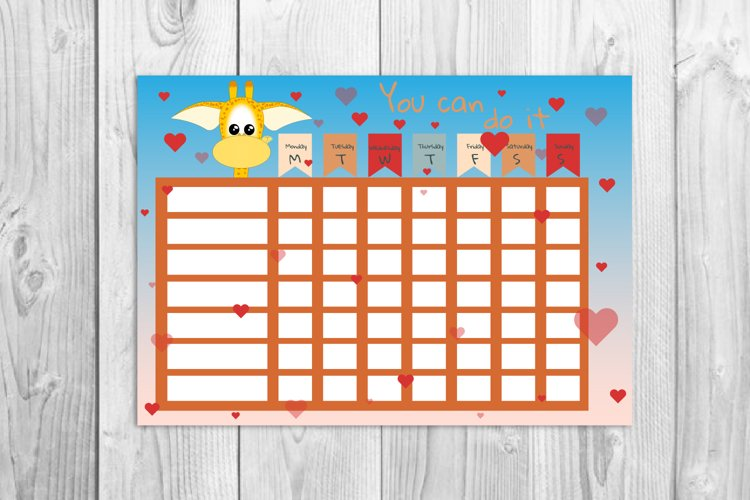 Kids reward chart, Giraffe graphic, Kids daily routine