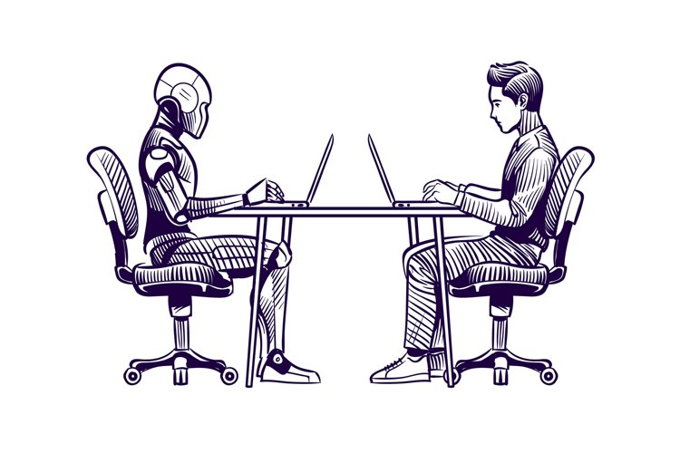 Robot vs man. Human humanoid robot work with laptops at desk example image 1