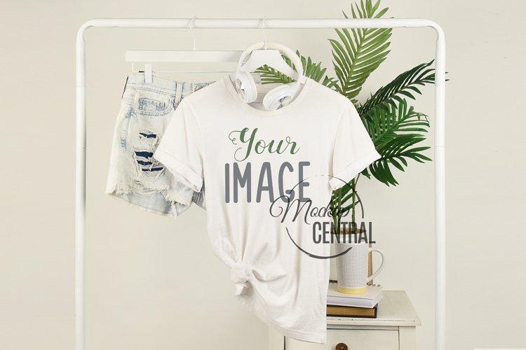 Womans Summer T-Shirt Fashion Mockup on Clothing Rack