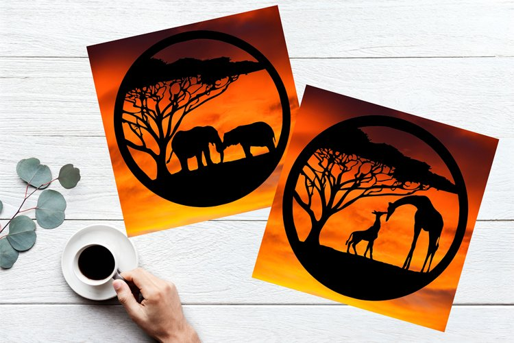 Giraffes and Elephants Paper Cut Design SVG PNG PDF JPEG