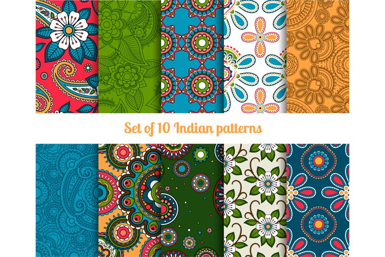 Paisley and flower indian seamless patterns