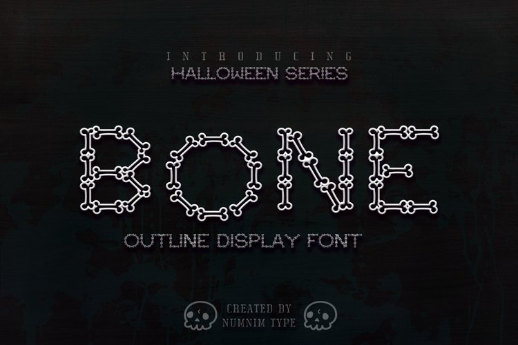 Bone Halloween Font Outline example image 1