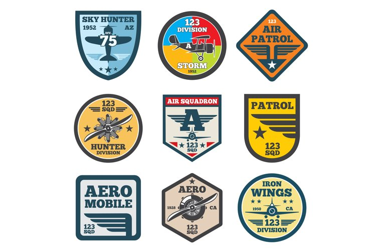 Army jet, aviation, air force vector labels, patch badges, e example image 1