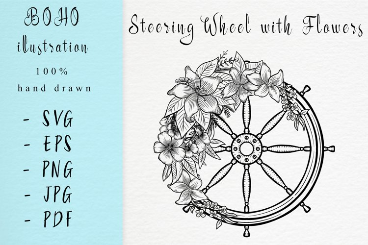 Boho illustration / Steering wheel with flowers example image 1