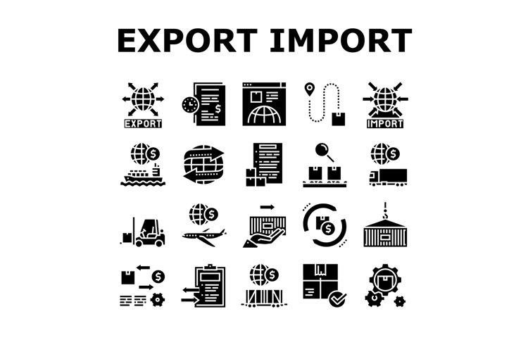 Export Import Logistic Collection Icons Set Vector example image 1