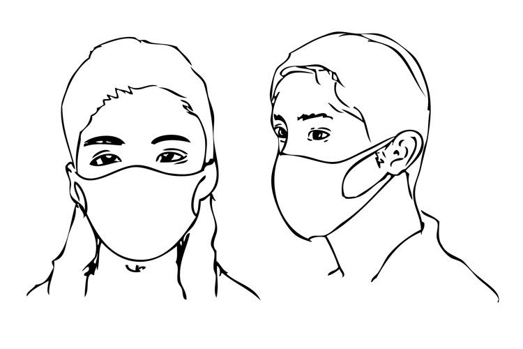 Man and Woman using Face mask due the Covid-19 Virus example image 1