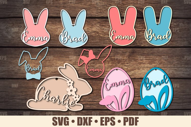 Easter Basket Tags SVG Glowforge Ready, Easter Bunny SVG example image 1