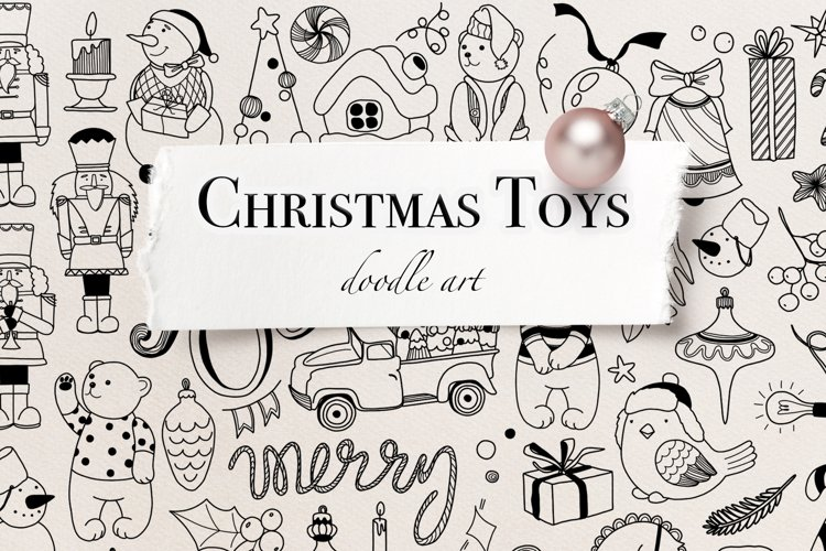Vector Christmas Toys Clipart Vintage toys line art
