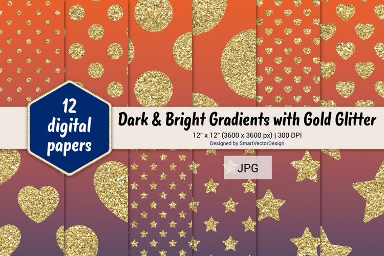 Polka Dot, Hearts, & Stars - Gradients with Gold Glitter #6 example image 1