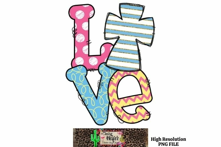 Easter Cross Love Dye Sublimation PNG example image 1