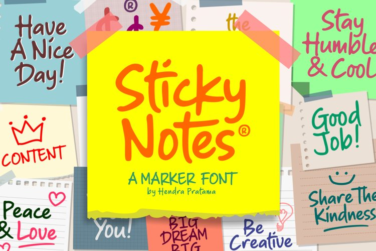 Sticky Notes - Marker Font example image 1