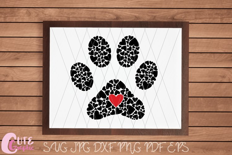 Paw Hearts Print SVG Cutting File Crafter Animal Love Dog example image 1