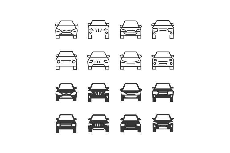Autos front view line and silhouette vector icons example image 1