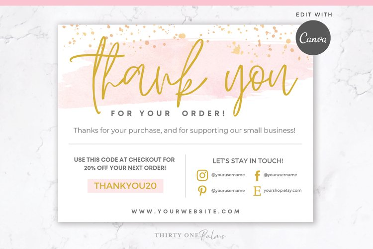 Thank You Card for Canva | Printable | Pink & Gold