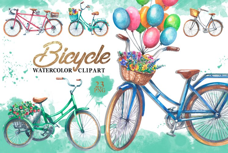 Bicycle watercolor clipart