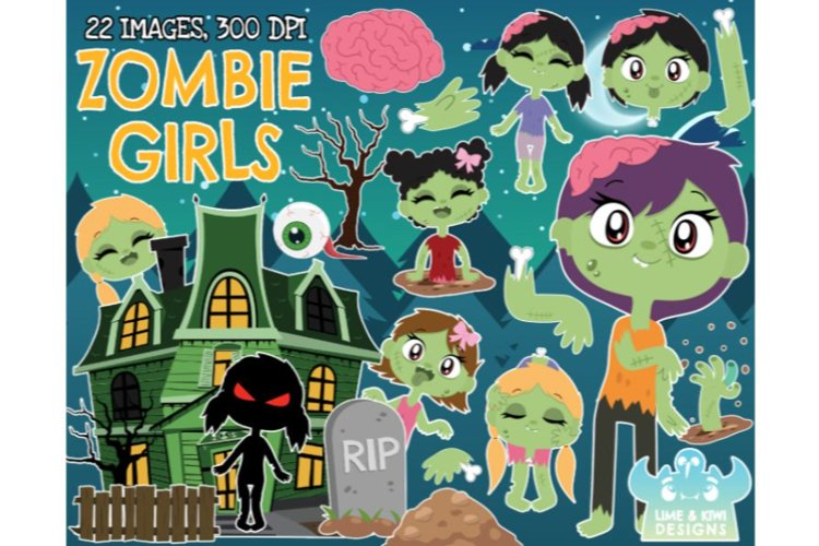 Zombie Clipart - Girls - Lime and Kiwi Designs