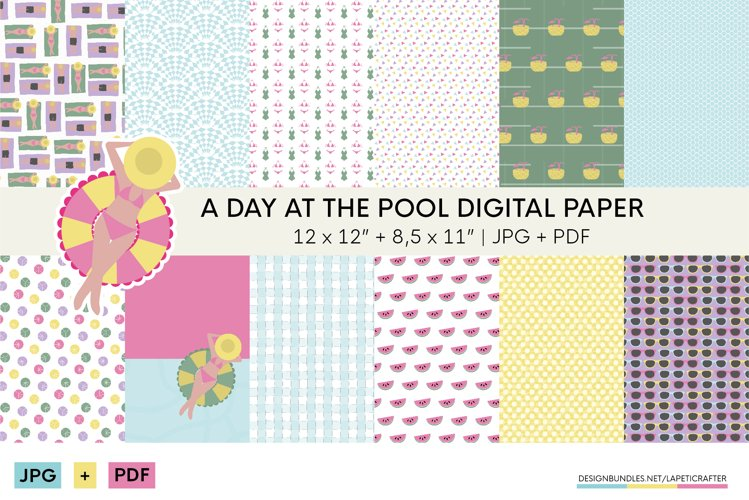 Summer digital scrapbbok papers | Pool decorative wallpaper example image 1