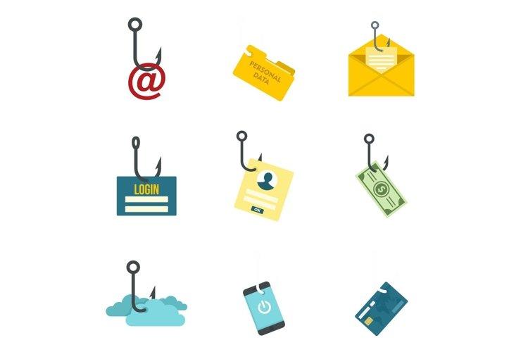Phishing icon set, flat style example image 1