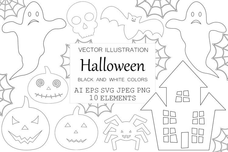 Halloween coloring. Halloween SVG. Spider. Pumpkin. Bat example image 1