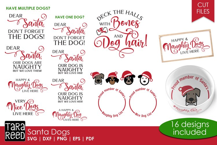 Santa Dogs - Christmas Cut Files for Crafters