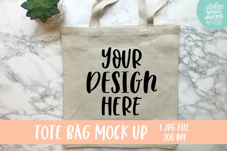 Tan Tote Bag Mockup With A Succulent