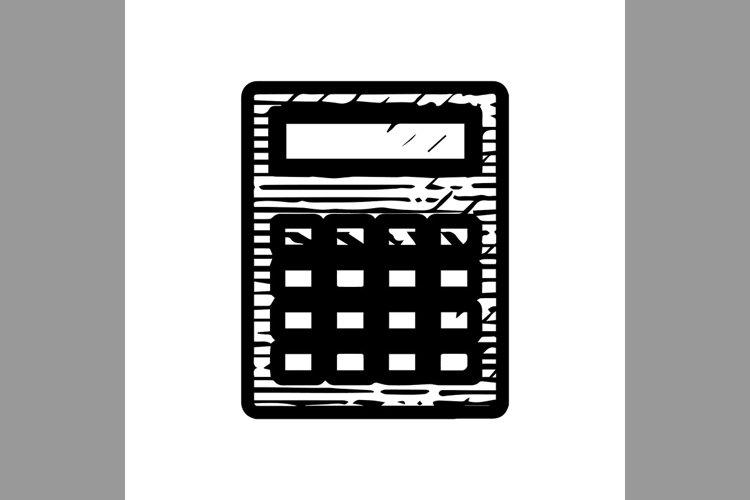 hand drawn calculator symbol line icon, Vector Illustration example image 1