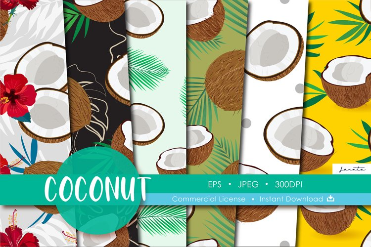 Coconut Seamless Pattern Fruits Background example image 1
