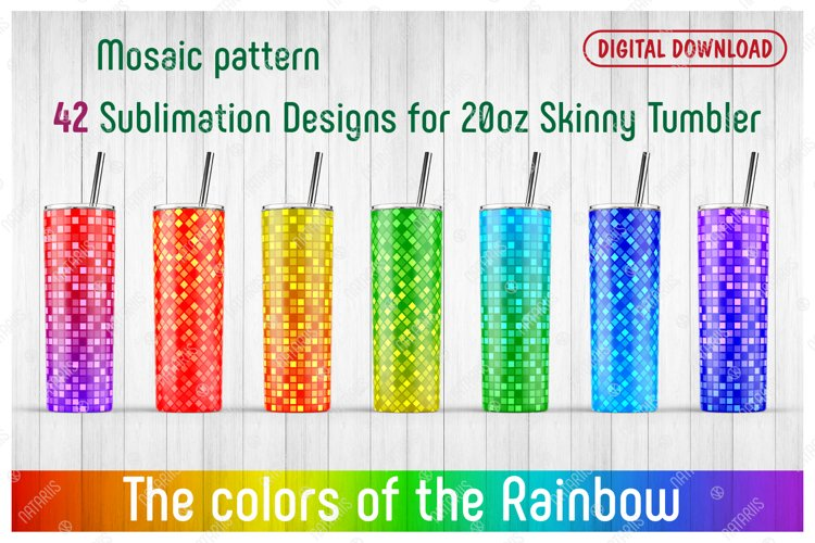 42 Mosaic Patterns for 20oz SKINNY TUMBLER. example image 1