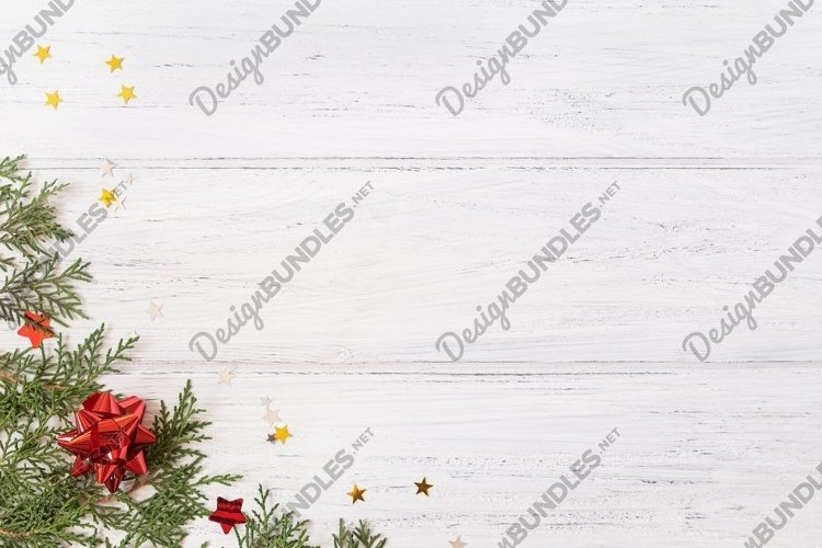 Photo of red Christmas decorations with glitter stars example image 1