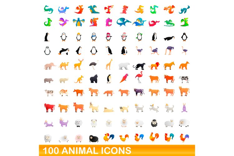 100 animal icons set, cartoon style example image 1
