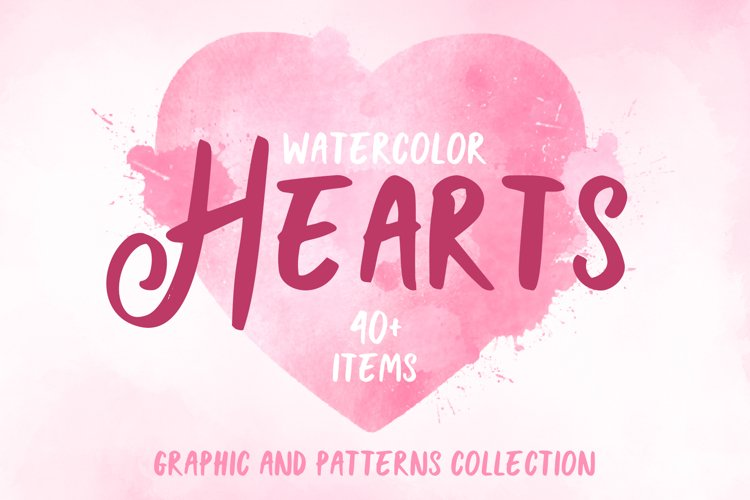 Watercolor valentine day collection, Watercolor hearts