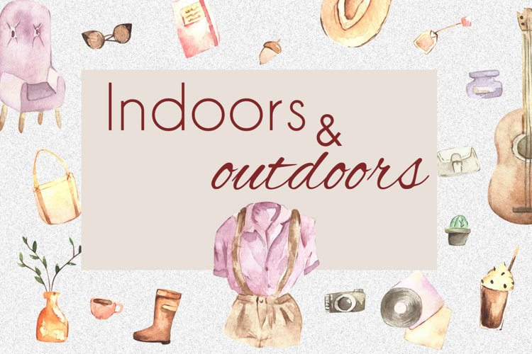 "Watercolor clipart "" Indoors and outdoors"" example image 1"