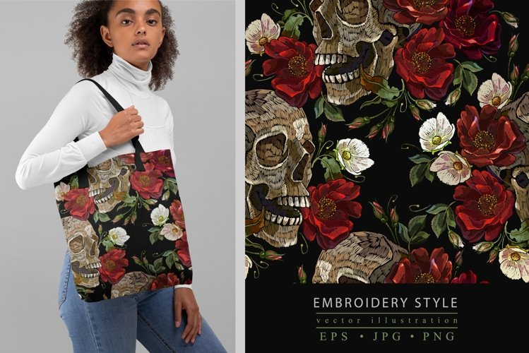 Embroidery style skull and red roses pattern