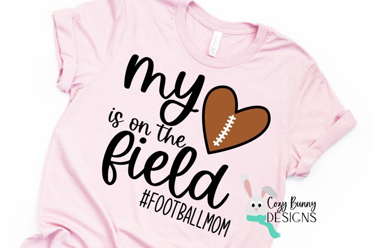 Football Mom SVG, My Heart is on the Field, Football Heart example image 1