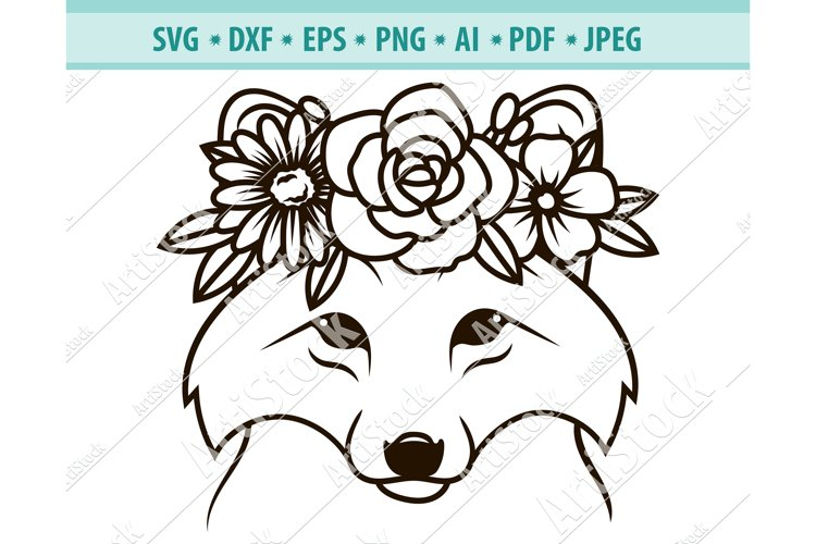 Wolf SVG file, Wolf with Flower Crown SVG, Png, Eps, Dxf example image 1