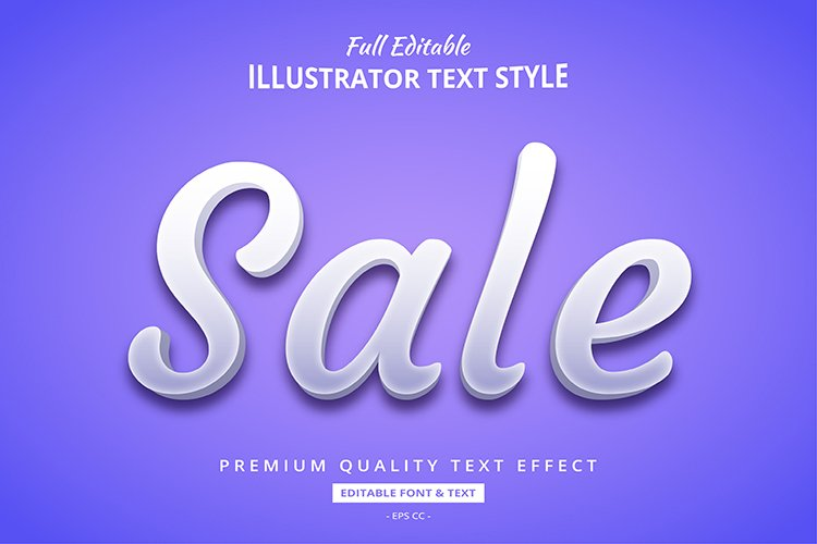 Sale White Elegant 3D Illustrator Text Style Effect example image 1