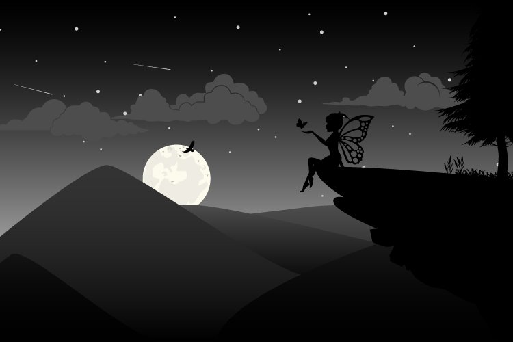 fairy and moon silhouette, simple vector illustration design example image 1