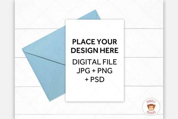 Greeting Card Mockup 5x7 - Blue Envelope Invitation Mock Up example image 1