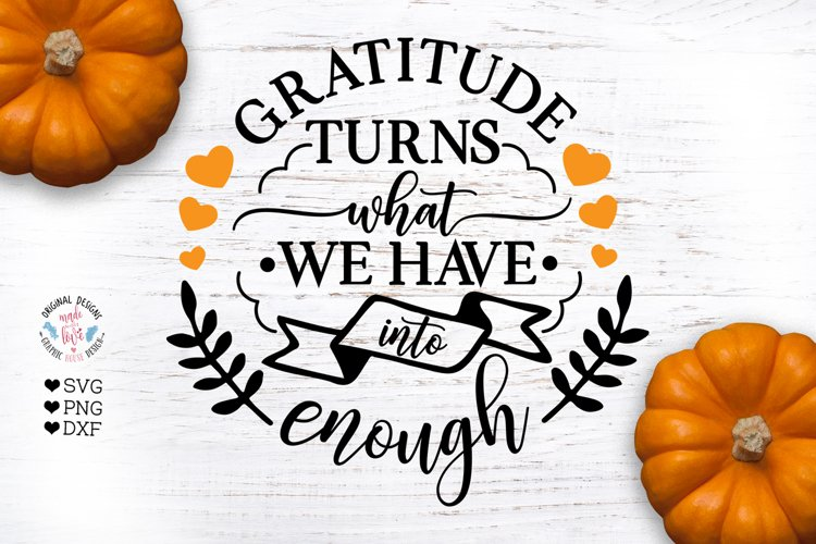 Thanksgivings Gratitude SVG - Cut File and Sublimation File example image 1