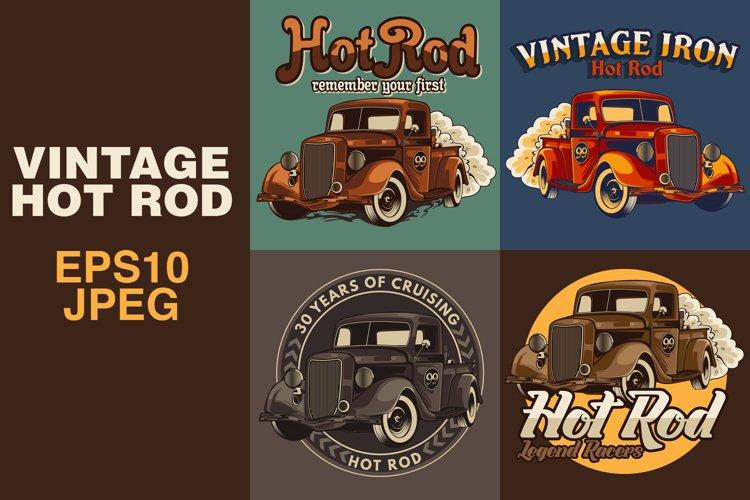 Vintage hot rod car. apparel graphic design. vector illustration example image 1