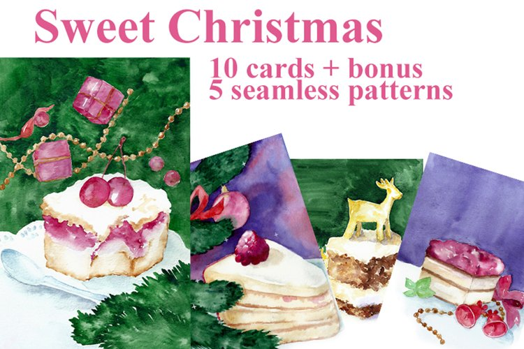 Sweet Christmas. A set of cakes 10 cards and bonus!