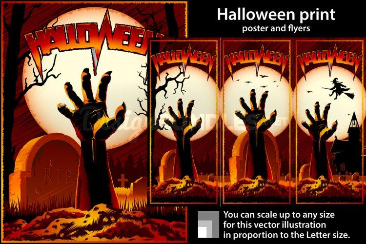Vector Zombie Hand Cemetery Halloween Background Print Stamp