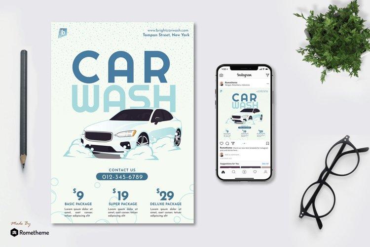 Bright Car Wash - Flyer & Instagram Post GR example image 1
