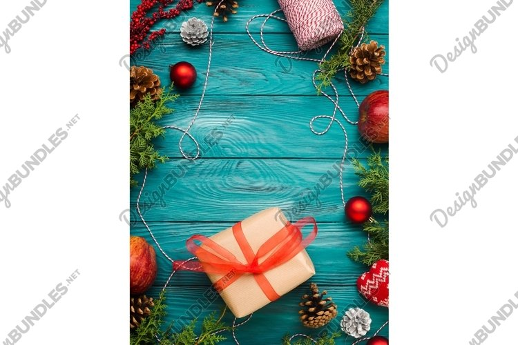 Christmas dark green frame background with pine cones example image 1