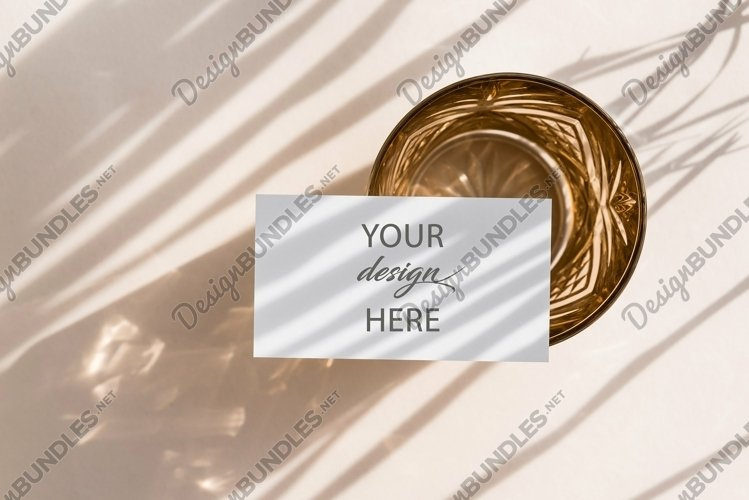 Blank Card Mock up with palm leaves shadows example image 1