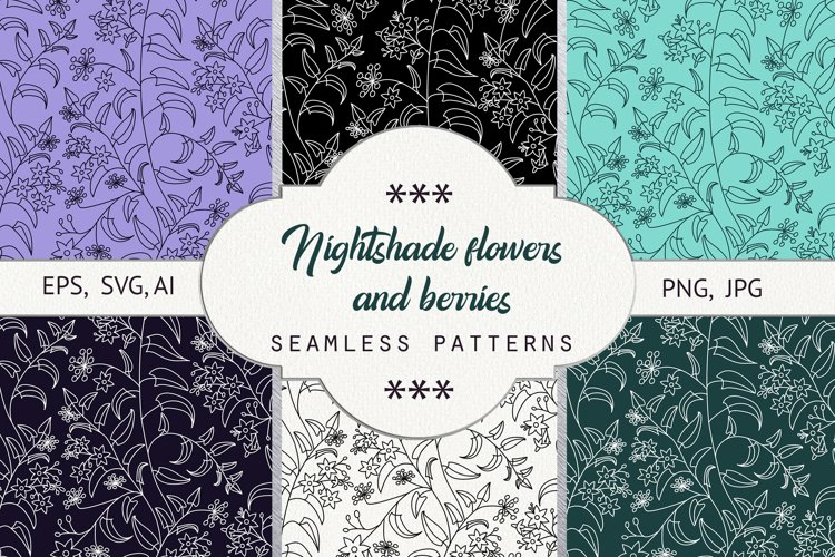 Nightshade. Seamless patterns example image 1