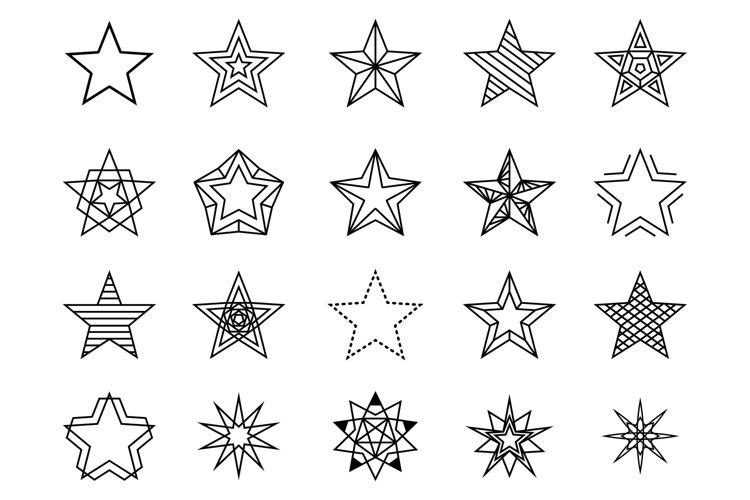 Linear stars vector set example image 1