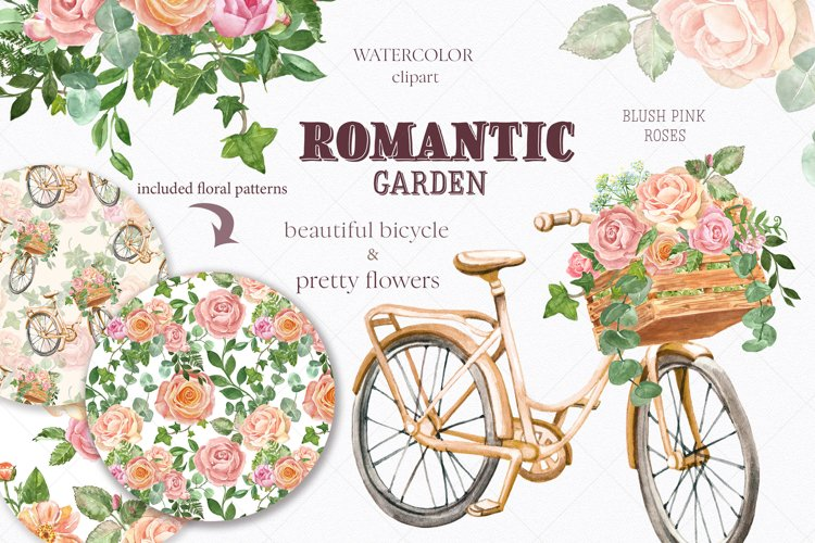 Watercolor Pink Rose Flowers Clipart Floral Bicycle Spring