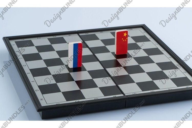 Symbols flag of Russia and China on the chessboard example image 1