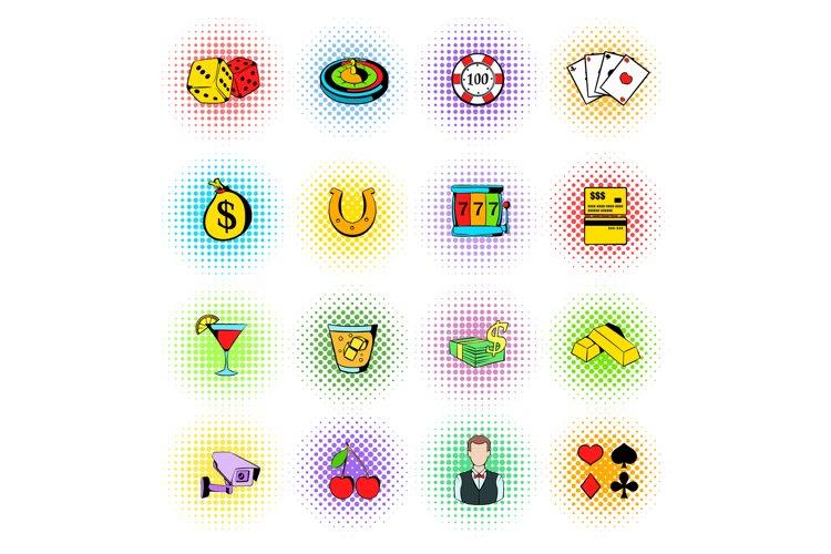 Gambling icons set, comics style example image 1